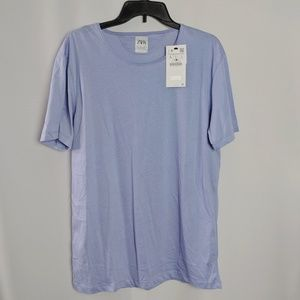 Zara Blue Easy Fit Eco. Grown Cotton T Shirt NWT